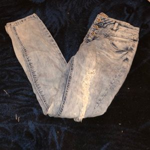 High waisted light distressed jeans